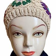 White Flower Handwoven Cap